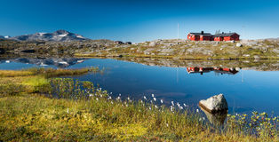 Typical Scandinavian Red Painted Cabins Stock Image