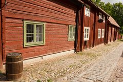 Typical scandinavian timber houses. Linkoping. Sweden. Typical swedish red timber houses in Gamla Linkoping Friluftsmuseet (open air museum).All buildings in the Stock Images