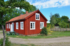Typical scandinavian wooden house Royalty Free Stock Image