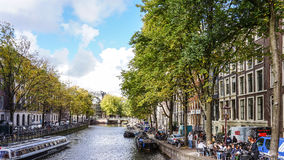 Typical Scene around the Canals in Amsterdam Royalty Free Stock Photography