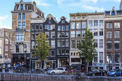 Typical Scene around the Canals in Amsterdam Stock Photos
