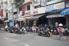 Typical scene on Bui Vien street Stock Photos