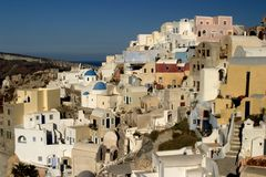 Typical scene from the Greek island of Santorini. A typical scene on the popular volcanic Greek island of Santorini, Greece.  Every year millions of tourists Royalty Free Stock Photography