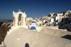 Whitewashed Greek town. Rooftop view of a typical whitewashed town on the island of Santorini in Greece Royalty Free Stock Image