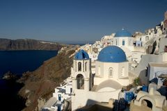 Typical scene from the Greek island of Santorini. A typical scene on the popular volcanic Greek island of Santorini, Greece.  Every year millions of tourists Stock Photo