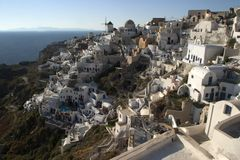 Typical scene from the Greek island of Santorini. A typical scene on the popular volcanic Greek island of Santorini, Greece.  Every year millions of tourists Royalty Free Stock Photo
