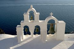 Typical scene from the Greek island of Santorini. A typical scene on the popular volcanic Greek island of Santorini, Greece.  Every year millions of tourists Stock Photography