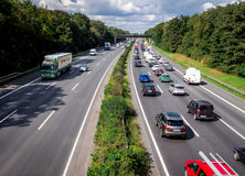 Typical scene during rush hour in a traffic jam Royalty Free Stock Photography