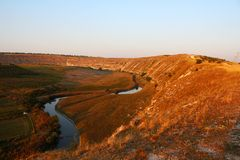Typical scenic landscape of Orheiul Vechi at sunset Royalty Free Stock Images