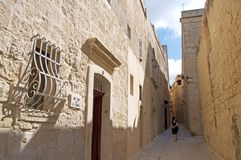 Malta, Mdina: Typical Medieval street Stock Image