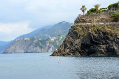 Typical seascape of Italian Riviera, Cinque Terre, Liguria, Italy.  Royalty Free Stock Photo
