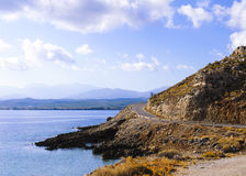 Typical Seascape road in Crete island Royalty Free Stock Image