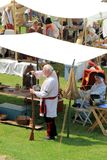 Typical set up for where soldiers might stay and sell wares, seen during reenactment, Fort Ontario, Oswego, New York, 2016. Typical set up that soldiers and Royalty Free Stock Images