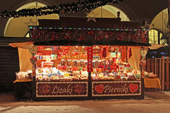 Typical shop on New Year's Fair near the Cloth Hall in Krakow, Poland stock images