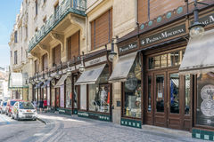 Typical shops in the street Celetna in the old city of Prague Stock Photos