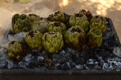 Typical Sicilian Artichokes Barbecue, Italy, Food. Typical Sicilian Artichokes Barbecue, Italy, Vegetarian Food, Barbecue Close-up royalty free stock image