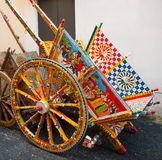 Typical Sicilian cart, Sicily, Italy. The Sicilian cart (or carretto siciliano in Italian and carrettu sicilianu in Sicilian or carretti (plural)) is an ornate royalty free stock photography