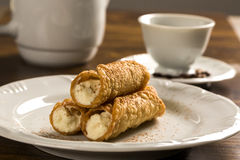 Typical Sicilian pastries called CANNOLI with amarena listed in royalty free stock photography