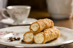 Typical Sicilian pastries called CANNOLI with amarena listed in Stock Images