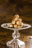 Typical Sicilian pastries called CANNOLI with amarena listed in Royalty Free Stock Image