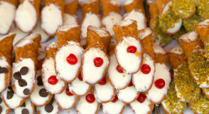 Typical Sicilian pastries called CANNOLI  listed in pastry Stock Photography