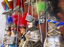 Typical sicilian pupi. Puppets in Taormina Royalty Free Stock Image