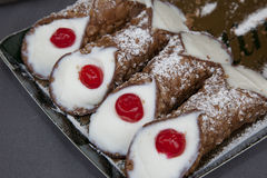 Typical Sicilian sweet called cannoli or Royalty Free Stock Images