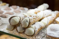 Typical Sicilian sweet. Typical Sicilian pastry, the cannolo stock photography