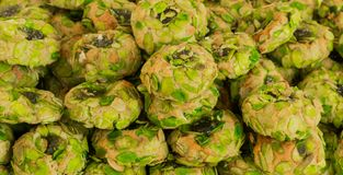 Typical Sicilian sweets with pistachio paste. Italian pastry tradition. royalty free stock photos