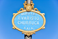 Typical sign of a street in Bilbao. (Spain stock images