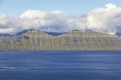 Faroe Islands. High mountains and deep fjords. Royalty Free Stock Photo