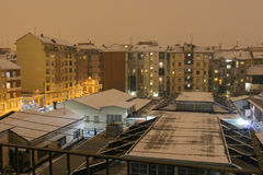 Typical sleeping district with residential buildings at night in winter time. Turin. Italy. Stock Image