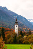 Typical slovenian church in the mountains Stock Photo