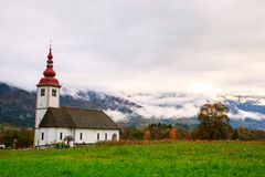 Typical slovenian church in the mountains Royalty Free Stock Photography
