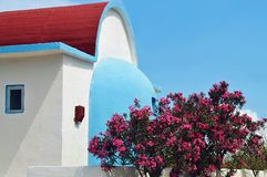 Typical small Greek house with oleander bushes Royalty Free Stock Photo