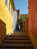 Typical small street with old houses Denmark Royalty Free Stock Photography
