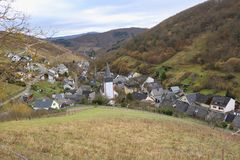 Small village snuggled into a narrow valley at Middlerhine area Germany. A typical small village in the famous german Middlerhine area, hidden in a narrow side Royalty Free Stock Photo
