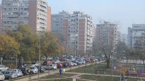 Typical socialist block of buildings. Typical socialist block of flats in eastern Europe stock video footage