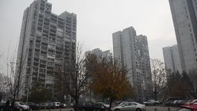 Typical socialist block of buildings. Typical socialist block of flats in eastern Europe stock video