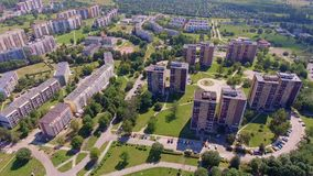 Typical socialist block of flats in Poland. East Europe. View from above. stock footage