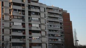 Typical socialistic buildings, Belgrade, Serbia. Typical socialistic buildings around the park, Belgrade, Serbia stock footage
