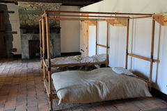 Typical soldier's bedding during the Revoluntionary War,Fort Ticonderoga,2014 Royalty Free Stock Photos
