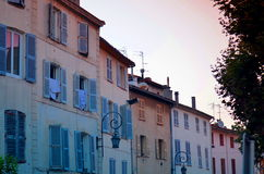 Typical south french buildings with shutters Stock Photo