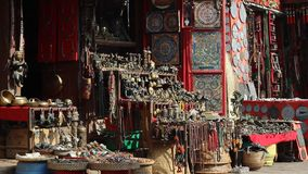 Typical souvenir shop in Nepal. Traditional Nepali souvenirs for tourists stock video