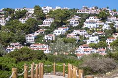 Typical spain village with white houses. Typical spain village on balearic islands Stock Images