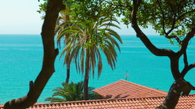 Typical spanish apartment house, sea view and palm trees, Tarragona, Spain stock footage