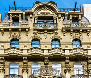 Typical Spanish balconies on imposing old building in Barcelona, Spain Stock Photography