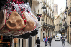 Typical spanish bota bags on sale in Barcelona, Spain Royalty Free Stock Image