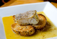Typical spanish codfish tapa. Royalty Free Stock Image
