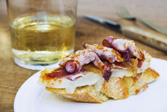 Typical spanish octopus pincho (Galician octopus style) stock photo